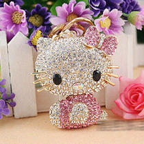 Sparkly Bling Swarovski Elements Crystal Gift Cute Cat Purse Key Ring Chain Photo
