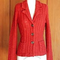 Sparrow Anthropologie Cable Knit Cardigan Wool Sweater Jacket Red M Photo