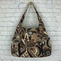 Spartina 449 Daufuskie Island Purse Brown Floral Linen Leather Trim Bag Tote  Photo