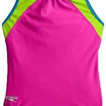 Speedo Big Girls Cross Back Splice 1 Piece Black/pink 7 New Blush Size 8 Vri Photo