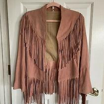 Spell & the Gypsy Wild Belle Rare  Blush Pink Suede Fringe Jacket S/m Photo