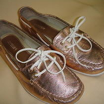 Sperry Top Sider Ladies 2 Eye Boat Shoes in Metallic Blush Size 8.5 Photo