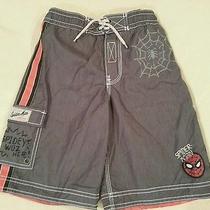 Spiderman Gap Junk Food Swim Trunks Shorts Boys Medium 8 Gray Swimsuit Exc Photo