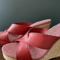 Splendid Anthropologie Women's Sz 9 Red Cork Wedges Sandals Heels Photo