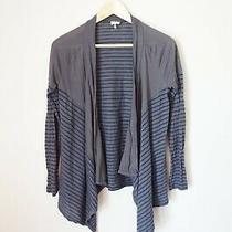 Splendid Blue Gray Striped Cotton Blend Open Cardigan Sweater - Xs Photo