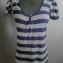 Splendid Blue Stripe Hooded Blouse Sz Medium Free Shipping Photo