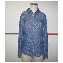 Splendid Blue White Floral Print Tencel Long Sleeve Button Down Shirt Sz Xs J116 Photo