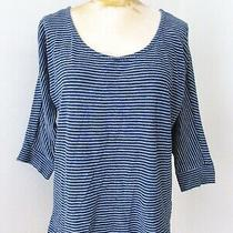 Splendid Blue White Pinstripe 100% Cotton Boxy Scoop Neck Top Bracelet Slvs M  Photo
