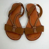 Splendid Brown Leather Flat Sling Back Rope Sandals Sz 38 Fun for Summers B611 Photo