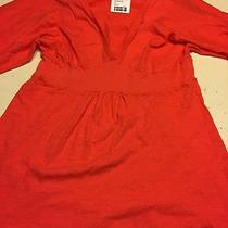 Splendid Flared Blouse Knit Jersey Bright Coral Xl New  Photo