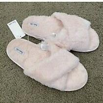 Splendid Fuzzy Faux Fur Crisscross Slippers Pink Size S/m Photo