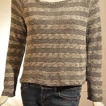 Splendid Gray Striped Cropped Sweater Size Medium Photo