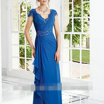 Splendid High End Beading Attracting Blue Chiffon v-Neck Evening Dresses Custom Photo