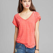 Splendid M v Neck Burnout Tee T-Shirt Top Cherry Nwt 78 Photo