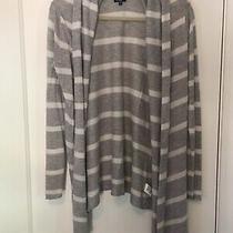 Splendid Medium Gray White Stripe Sweater Open Front Photo