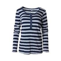 Splendid New Navy Cotton Striped Long Sleeves Henley Top Shirt M Bhfo Photo