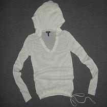 Splendid Off-White Lightweight Hooded Cotton / Cashmere Blend Pullover  Size M Photo
