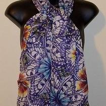 Splendid Purple & White Hand-Loom Lurex Linen Flower Print Scarf 20