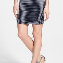 Splendid Ruched Skirt Small Navy/white Striped Nwot Photo