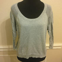 Splendid S Gray Scoopneck Cotton Mohair Sweater Open Knit Sleeves and Back Soft Photo