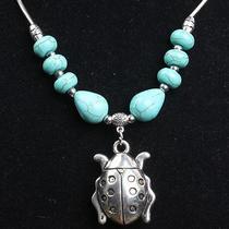 Splendid Tibetan Silver  & Turquoise Women's Beetle Pendant Necklace Nc0222bb Photo