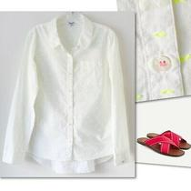 Splendid White Yellow Dot Button Down Shirt Sz M Photo