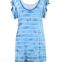 Splendid Women Gray Light Blue Solid and Stripes 2 Piece Layers Dress Size M Photo