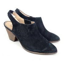 Splendid Women's Black Closed Toe Slingback Suede Bootie Chunky Heel Size 8.5m Photo