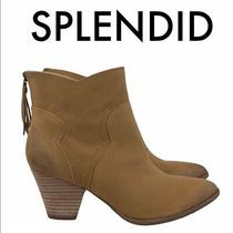 Splendid Women's Size 9m Brown Tan Leather Heeled Ankle Booties Rear Zipper Photo