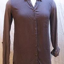 Splendid Women's Small Graphite Grey Button Front Long Sleeve Blouse Photo