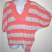 Splendid Women's Tan Peach Striped v-Neck Shirt Top Size Small Drawstring Waist Photo