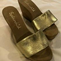 Splendid Womens Greenville Sandals Wedge Cork Heel in Gold Metallic Suede Size 8 Photo