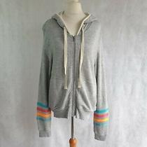 Splendid X Gray Malin Cardigan Size Medium Grey Multicolour Stripe Hooded 473186 Photo