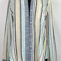 Splendid X Gray Malin Collar Stripe Button-Up Linen Beachwear Size L Photo