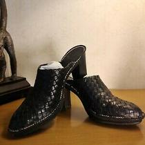 Sport Donald J Pliner Busy Black Woven Leather Mules/clogs Size 9 M Boots Heels Photo