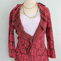 Spring Anthropologie Yellow Bird Any-Other-Rose Cardi Sweater Size Xs Pink Photo