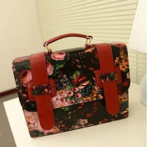 Spring New Retro Temperament Flower Oil Painting Shoulder Bag Handbag Ladies Bag Photo