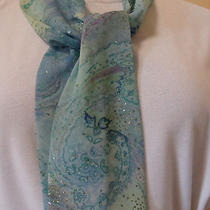 Spring/summer Scarf-Belt-Purse Accessory-Aqua Shimmer-Paisley/chiffon-New Photo