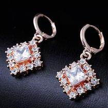 Square  Design Gems Rose Gold Filled C.z Women Lady Earrings Jewelry Cz0041 Photo