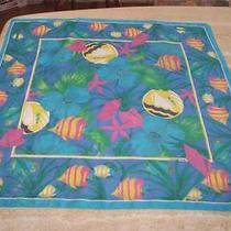 Square Scarf Tropical Fish Blues Greens Yellows Pinks Liz Claiborne Photo