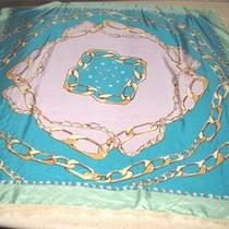 Square Silk Scarf in Aqua Green Lavender Collection Xiix Medallion & Chains Photo