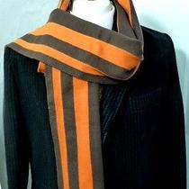 St George by Duffer College Big Scarf Chocolate & Orange College Stripe  Photo