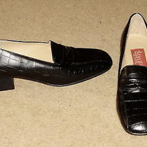 St. James Imitation Alligator Black Loafers Cushion Insole 1.5