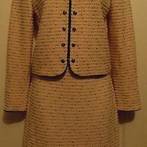 St. John 2 Piece Skirt Suit Blazer Womens Size 2 Blush Pink Black Textured  Photo