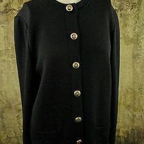St John Basics Knit Jacket M Black Santana Knit Euc Photo
