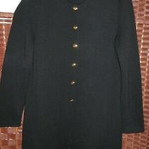 St John Basics Solid Black Gold Button Santana Knit Jacket Blazer Womens Size 6 Photo