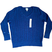 St John Bay Womens Royal Blue Knitted v Neck Pull Over Sweater 3x Nwt Photo
