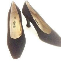 St John Black Heels Classic W Gold Detail Italy  Size 7.5 B  ( 38 Euro Size ) Photo