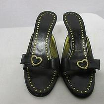 St. John Black Leather High Heel Slide Sandals W/ Heart Buckles Size 6 B Photo