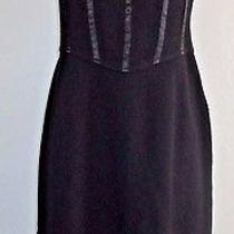 St John Black Sleeveless Empire Waist Knee Length Corset Style Back Dress Sz 8 Photo
